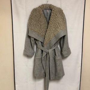 Free People Shearling Wrap Coat Oversized Gray Belted Jacket Size XS